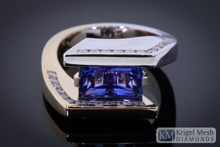 Emerald Cut Tanzanite Ring Diamond Ring two tone gold  14 karat yellow and white gold